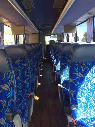 Interior view of 34 passenger mid-sized coach