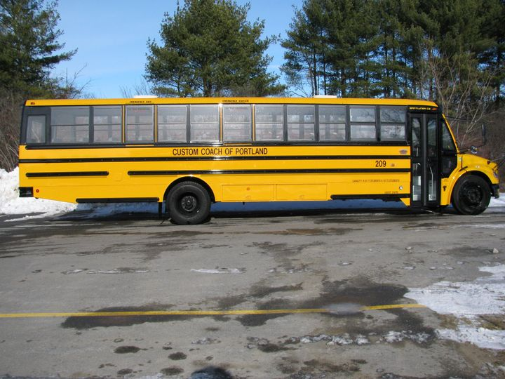 48 passenger school bus. These are traditional school buses and are not air-conditioned.