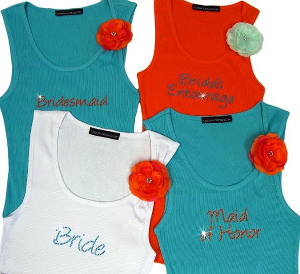 Bridesmaid tank tops and t-shirts custom made just for you! Choose from dozens of colors and crystal...