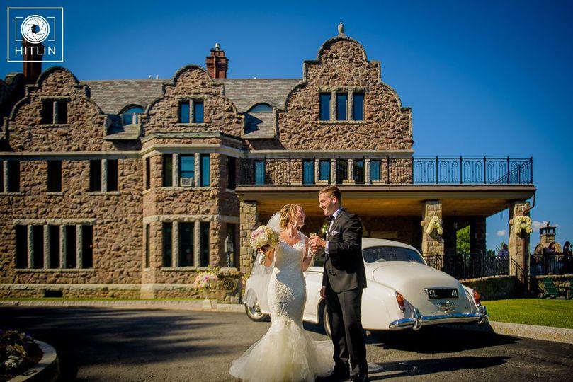 Newlyweds at the driveway