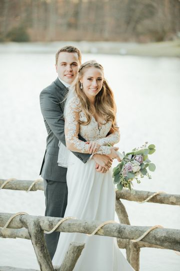 Newlyweds by the lake
