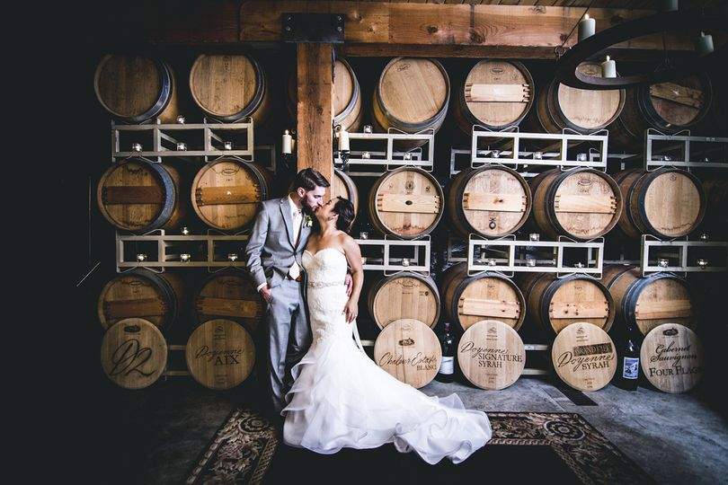 Delille Cellars Wedding Bride and Groom in Woodinville Washington