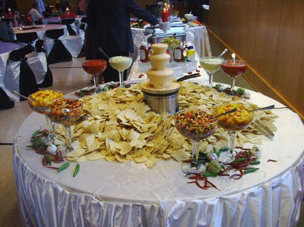 Queso Fountain with 4 Types of Salas !