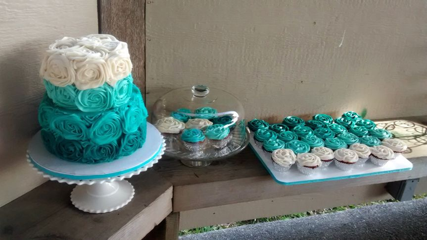 This Teal Ombre Two Tier Wedding Cake and Cupcakes were made out of Red Velvet Cake with Cream...