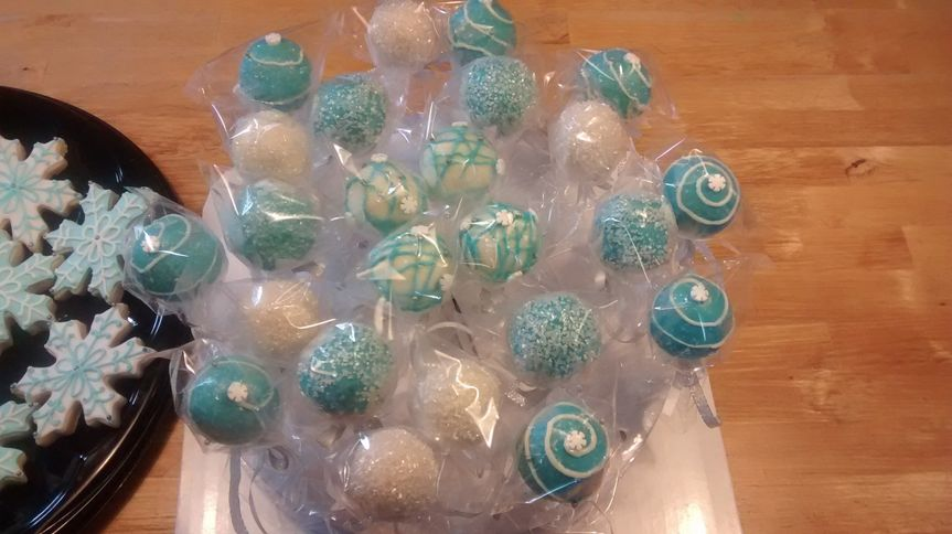 We also make delicious Cake Pops and Sugar Cookies to match any colors.