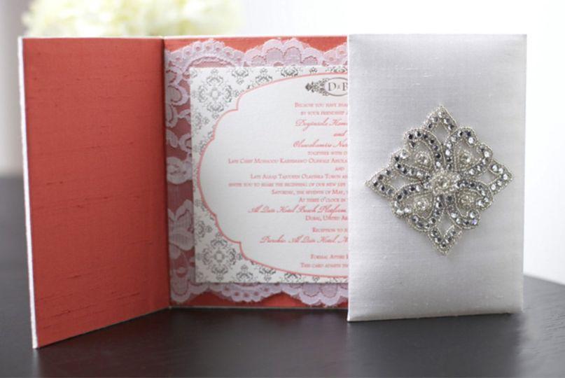 Silk boxed wedding invite