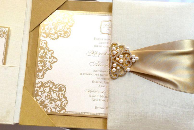 Gold silk boxed wedding invitations