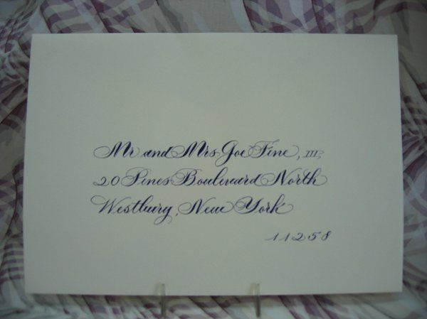 Custom color match Calligraphy. Open Bridal Script.