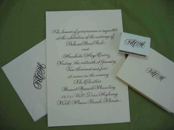CBE created Custom Camera Ready Artwork Invitation & Monogram.  Printed on our Invitation Papers,...
