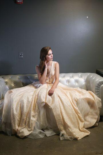 Peach Sequin Wedding Gown