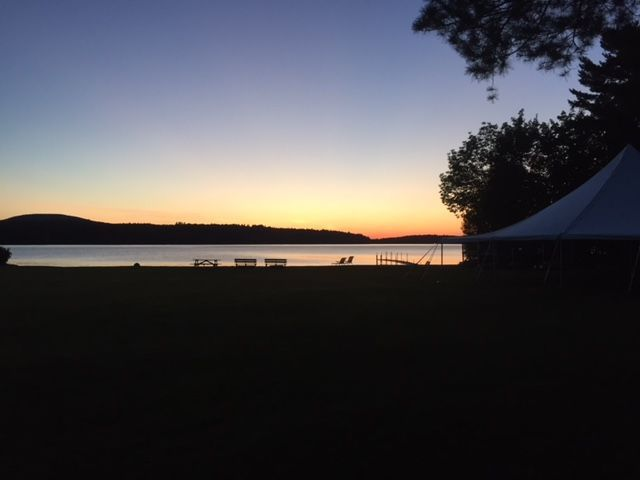 Wedding tent and sunset