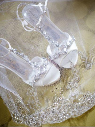 Brides shoes and Veil. Boston Wedding