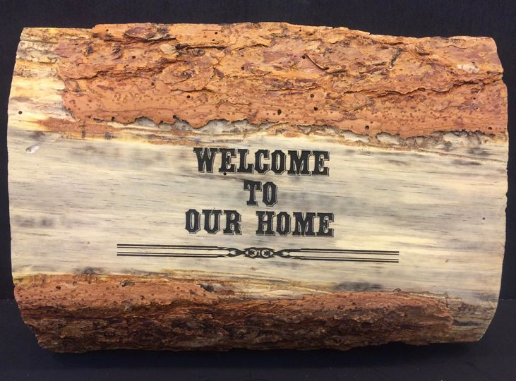 wood welcome to our home black