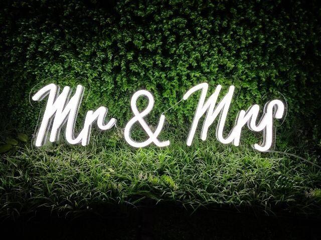 Mr & Mrs white led neon