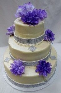800x800 1438116308356 3 tier premier wedding cake with bling and purple