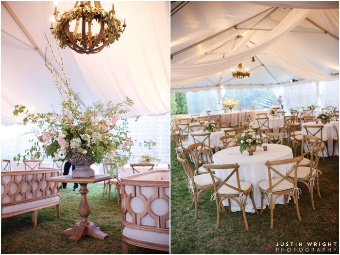 Tent with wooden chandelier