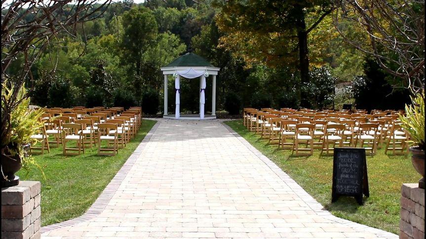 The maylon House Gazebo Garden Weding Ceremony site for Justin and Sarah's wedding.