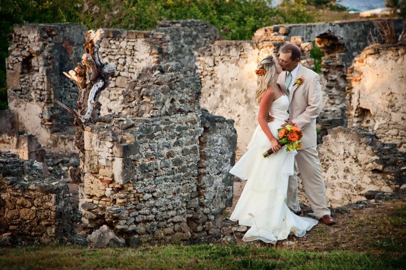 Newly married Mr. & Mrs. at historic ruins in Estate Judith's Fancy on St. Croix, US Virgin Islands
