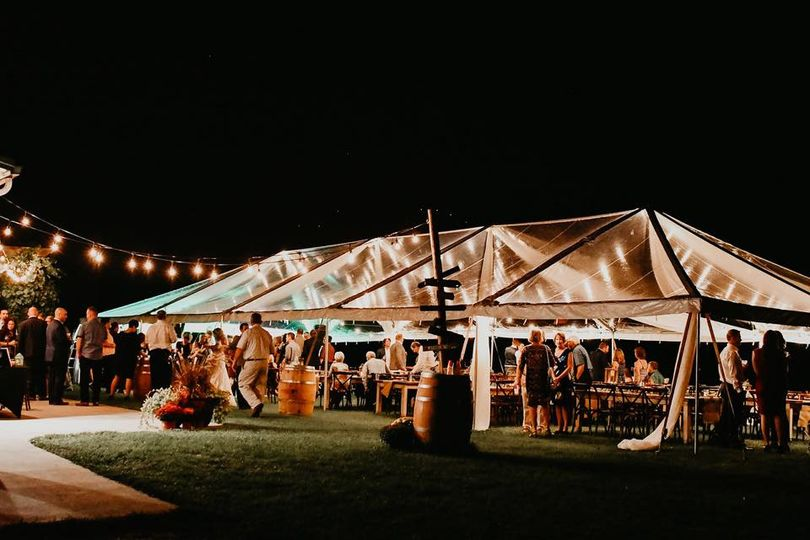 Rented clear tent, recpetion