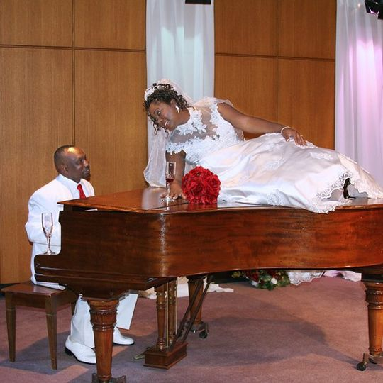 Bride and Groom Portrait on Piano