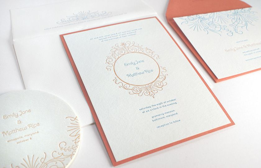 For that touch of color mount for wedding invitation - letterpress by Gilah Press