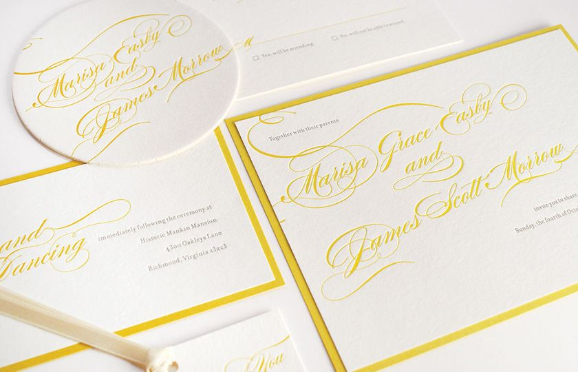Calligraphed look-alike wedding invitation by Gilah Press