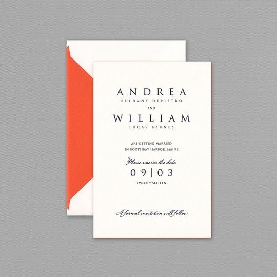 Add a pop of color to this Vera Wang wedding Invitation