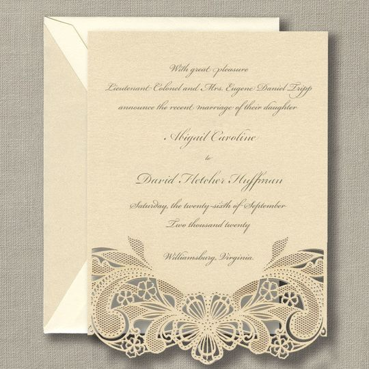 Lace trim Wedding Invitations by William Arthur