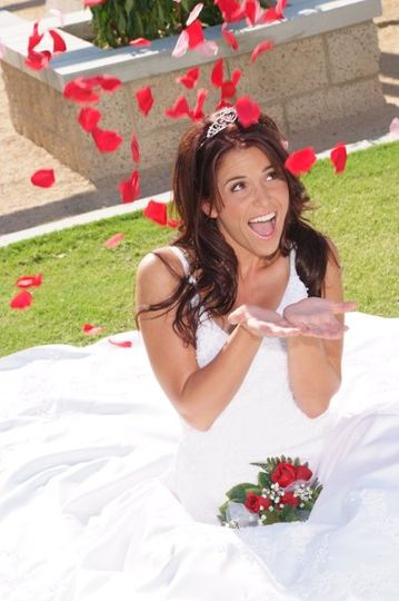 Bride under petals