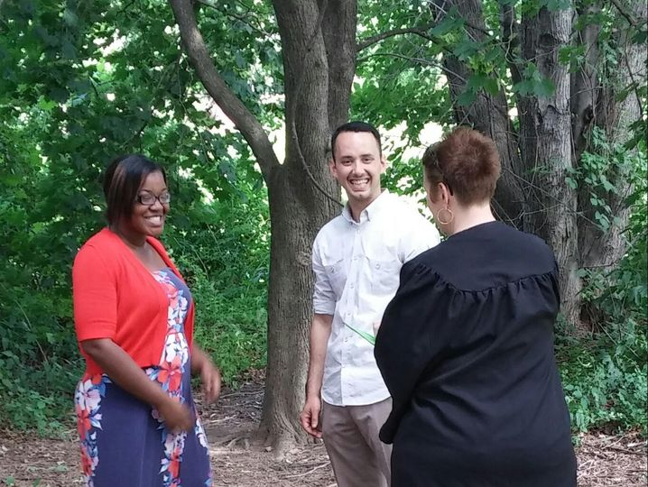 These two young professionals couldn't wait to become one! Under a tree just us three...That's how...