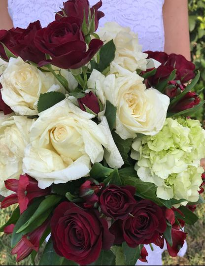 garden roses assorted florals cascading bridal bo