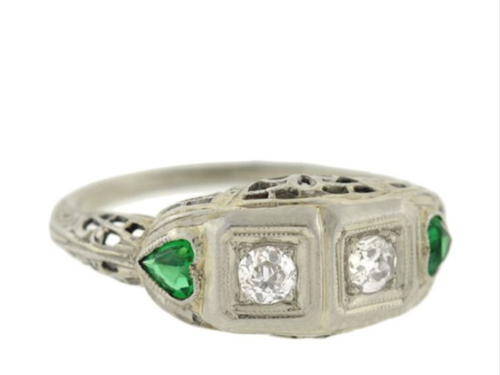 Tmx 1455224920958 37672 Diamond Heart Emerald Filigree Ring Narberth wedding jewelry
