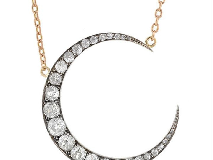 Tmx 1455225182810 3ct Omc Crescent Diamond Necklace Narberth wedding jewelry