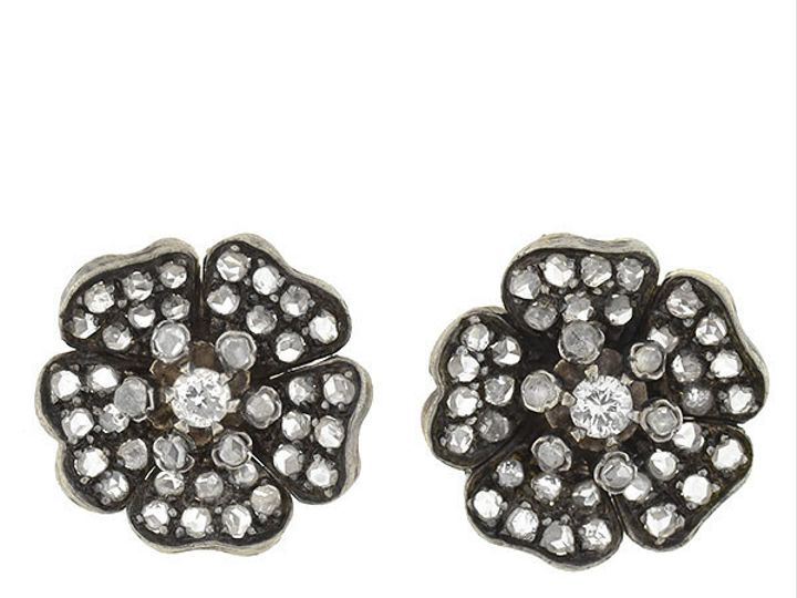 Tmx 1455820726694 Rose Cut Diamond Flower Earrings Narberth wedding jewelry