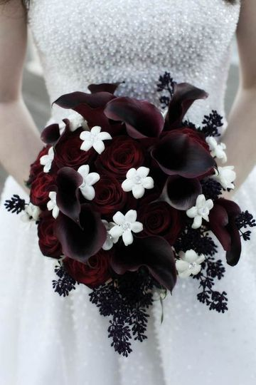 Plum, white, and black bouquet