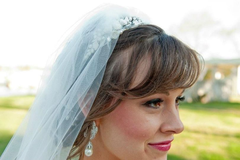 Lovely wedding bride with bangs