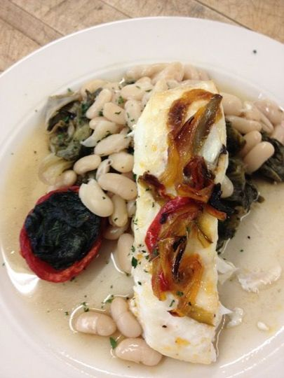 grilled halibut, herbed canellini beans, stuffed plum tomato