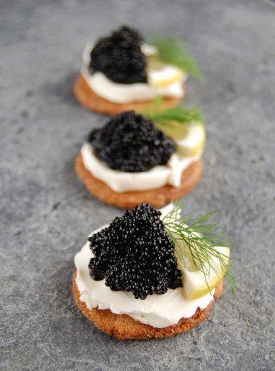 smoked slamon mousse canapé, American caviar