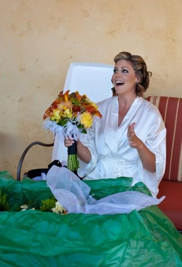 I love this moment!  When the bride sees her bouquet for the first time.  I see this expression and...