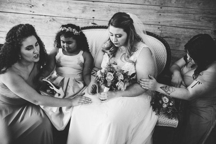 Bridesmaids fray for bride