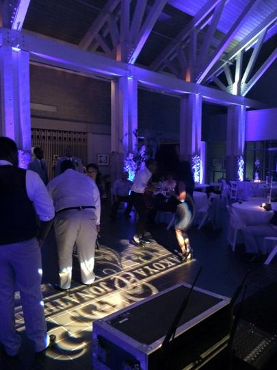 Custom Monogram on the DanceFloor - Norfolk Botanical Gardens