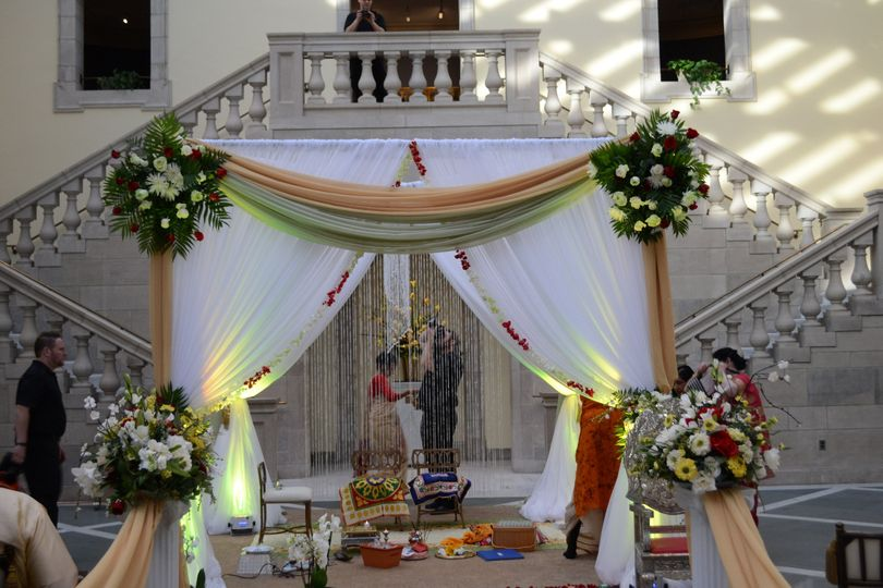 Draped Mandap / Canopy with Floral TieBacks