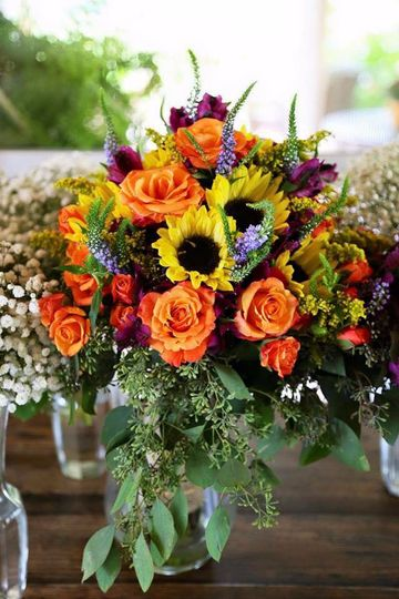 Large bouquet with sunflowers