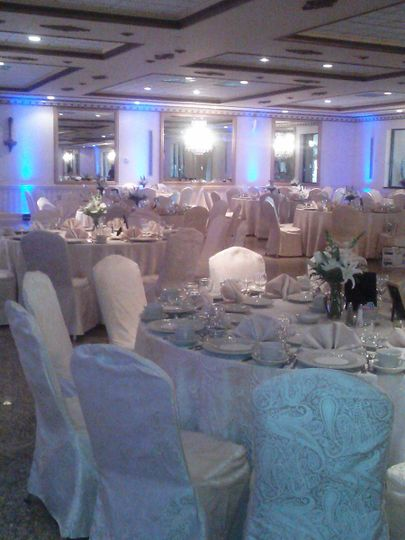 Gold Ballroom decked out in Blue Uplighting.