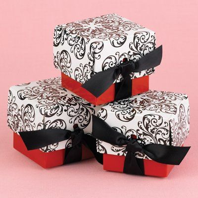 Add glamor and excitement to your table top with these trendy two-piece favor boxes. Feature black...