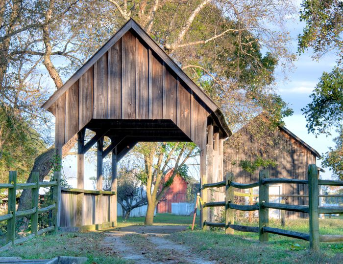 Covered bridge and barn in the back