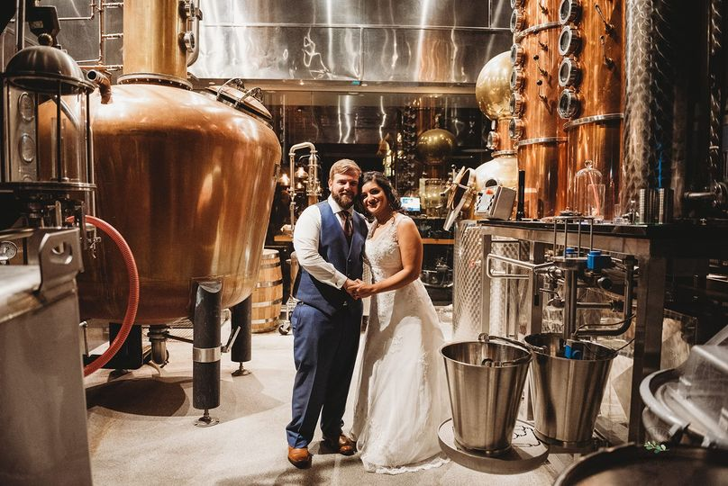 Bride and Groom in Distillery