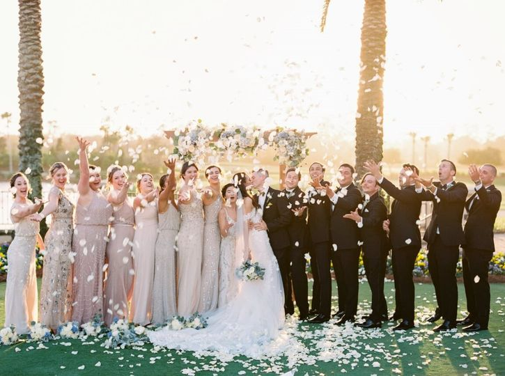 Wedding party petal toss