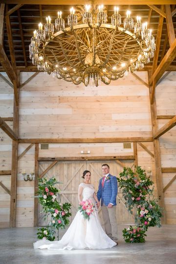 Ceremony under the chandelier