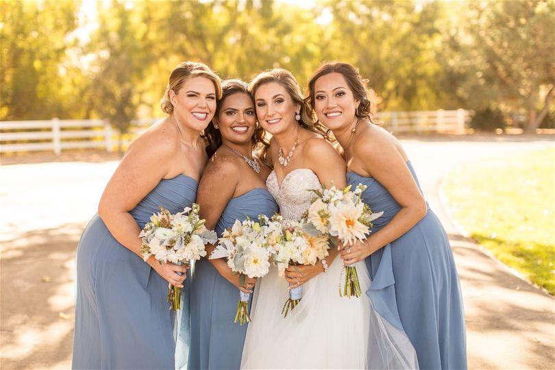 Glowing bride and bridesmaids